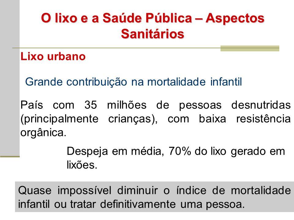 O lixo e a Saúde Pública – Aspectos Sanitários Lixo urbano Grande contribuição na mortalidade infantil País com 35 milhões de pessoas desnutridas (principalmente crianças), com baixa resistência orgânica.