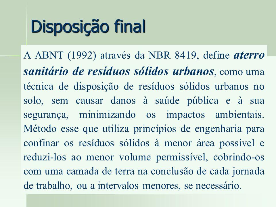 Disposição final A ABNT (1992) através da NBR 8419, define aterro sanitário de resíduos sólidos urbanos, como uma técnica de disposição de resíduos só