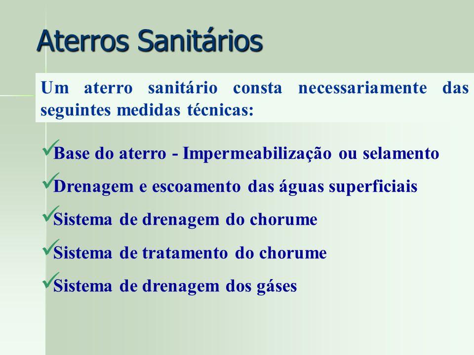 Um aterro sanitário consta necessariamente das seguintes medidas técnicas: Aterros Sanitários Base do aterro - Impermeabilização ou selamento Drenagem