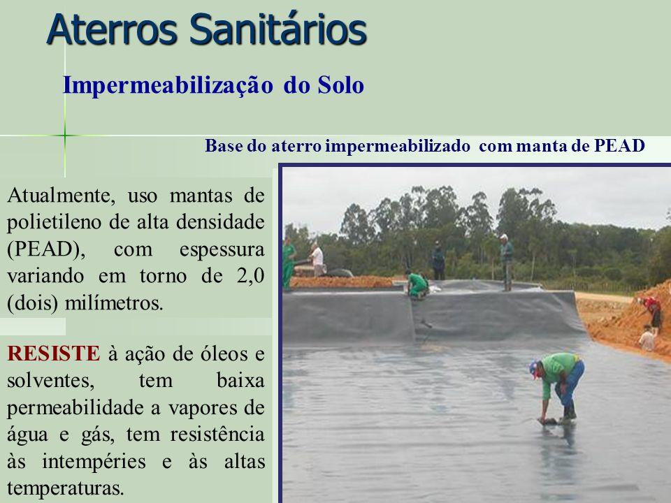 Aterros Sanitários Atualmente, uso mantas de polietileno de alta densidade (PEAD), com espessura variando em torno de 2,0 (dois) milímetros. RESISTE à