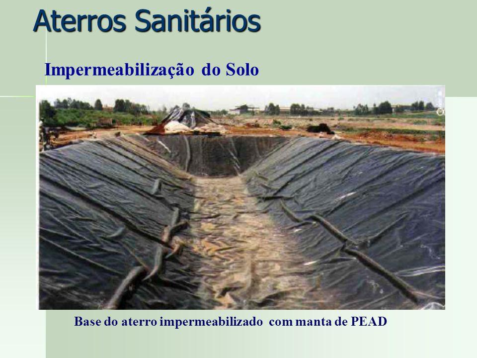Base do aterro impermeabilizado com manta de PEAD Impermeabilização do Solo Aterros Sanitários