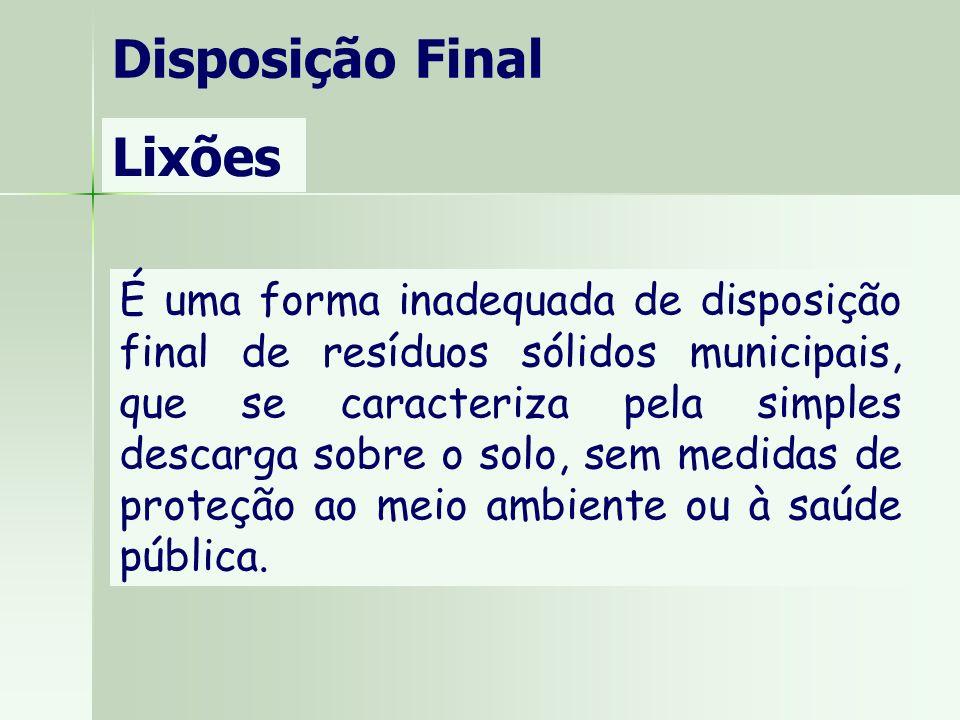 Disposição Final Lixões É uma forma inadequada de disposição final de resíduos sólidos municipais, que se caracteriza pela simples descarga sobre o so