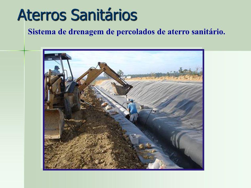 Aterros Sanitários Sistema de drenagem de percolados de aterro sanitário.