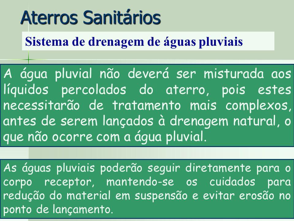 Aterros Sanitários Sistema de drenagem de águas pluviais A água pluvial não deverá ser misturada aos líquidos percolados do aterro, pois estes necessi