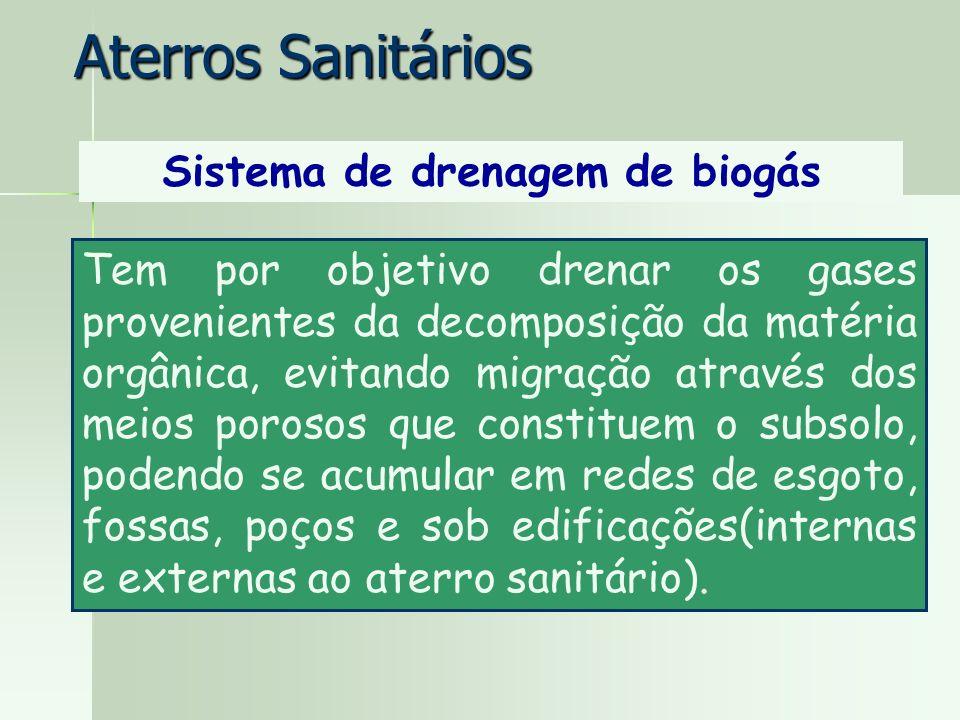 Aterros Sanitários Sistema de drenagem de biogás Tem por objetivo drenar os gases provenientes da decomposição da matéria orgânica, evitando migração
