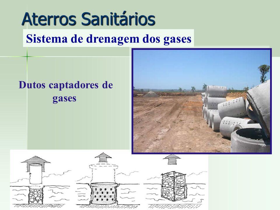Dutos captadores de gases Aterros Sanitários Sistema de drenagem dos gases