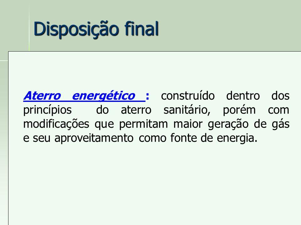 Disposição final Aterro energético : construído dentro dos princípios do aterro sanitário, porém com modificações que permitam maior geração de gás e