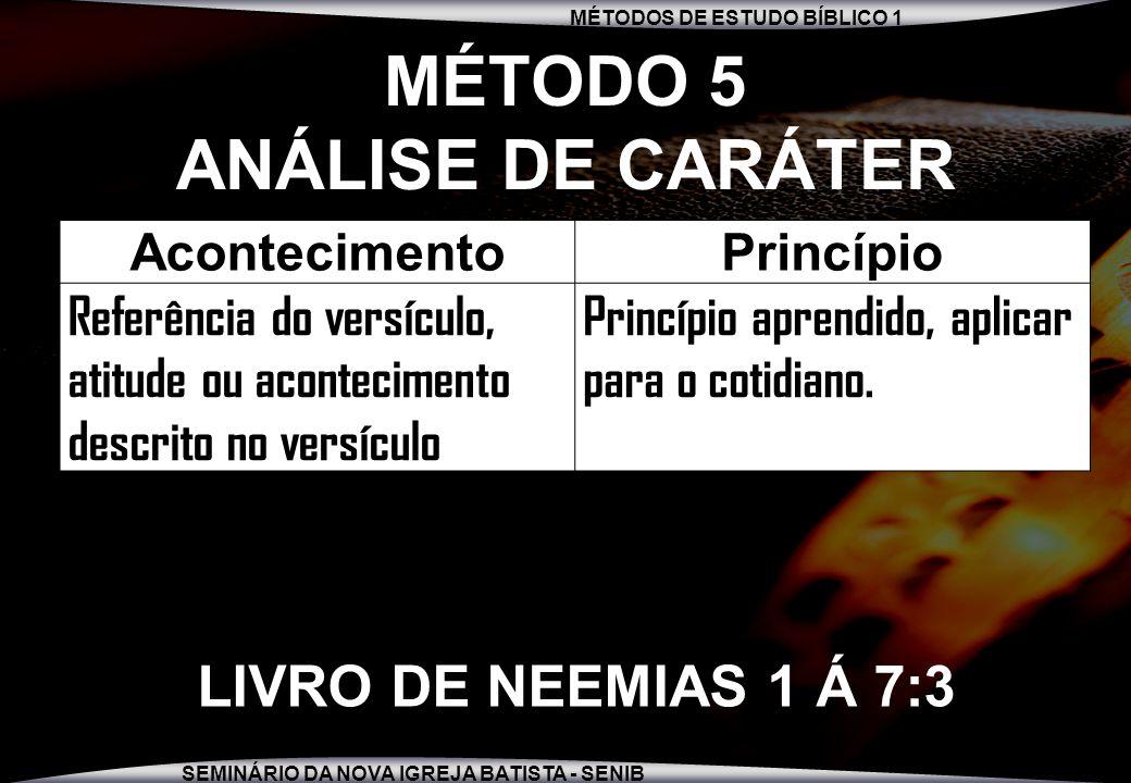 MÉTODOS DE ESTUDO BÍBLICO 1 SEMINÁRIO DA NOVA IGREJA BATISTA - SENIB 5 ANÁLISE DE CARÁTER AcontecimentoPrincípio 1:2 Neemias pediu notícias de Jerusalém e dos que tinham voltado do cativeiro Devo estar atento às necessidades do reino de Deus, tomando conhecimento do que acontece não somente ao meu redor, mas além disso.