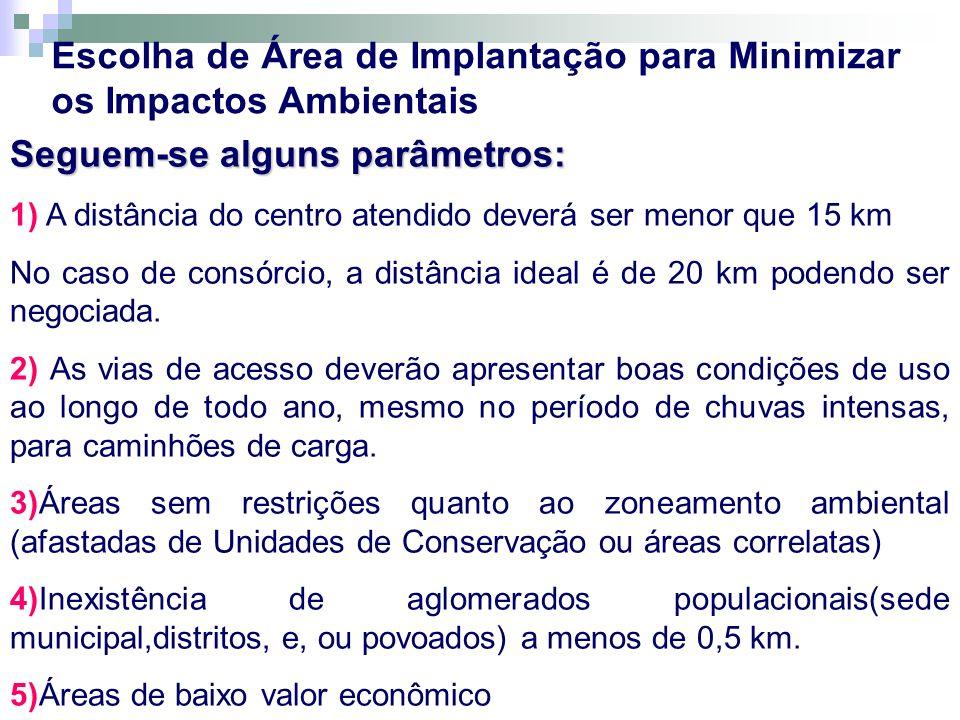 Seguem-se alguns parâmetros: 1) A distância do centro atendido deverá ser menor que 15 km No caso de consórcio, a distância ideal é de 20 km podendo s