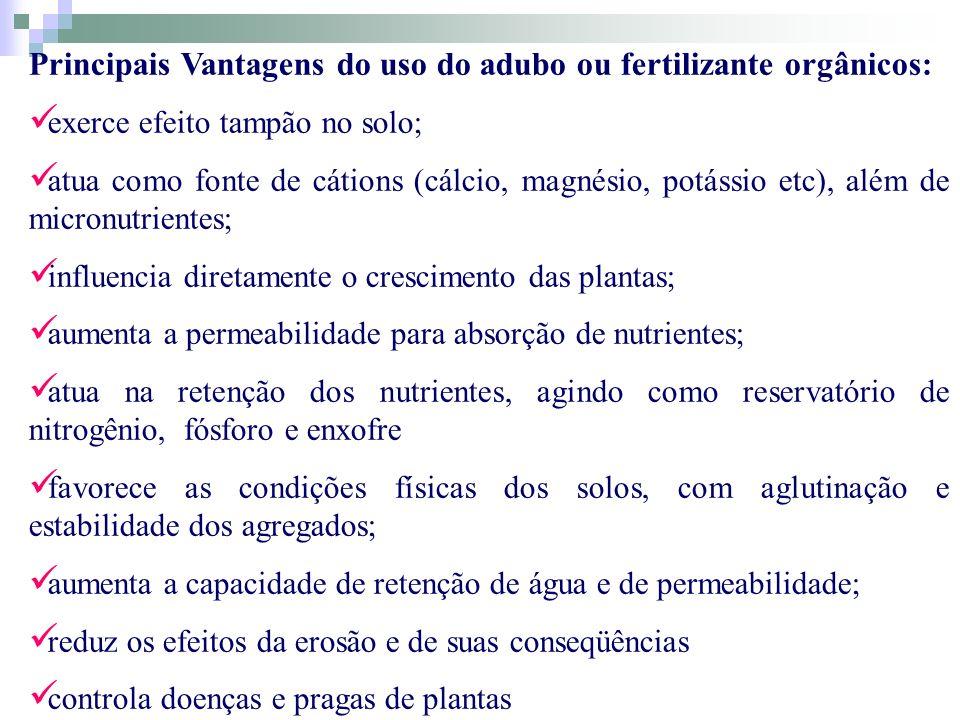Principais Vantagens do uso do adubo ou fertilizante orgânicos: exerce efeito tampão no solo; atua como fonte de cátions (cálcio, magnésio, potássio e
