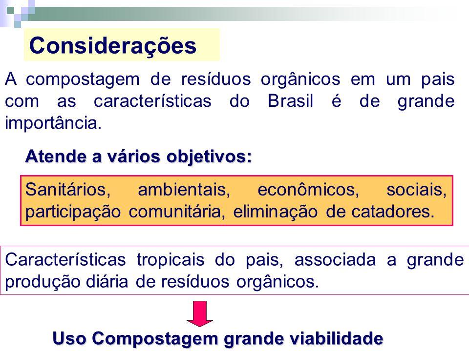 A compostagem de resíduos orgânicos em um pais com as características do Brasil é de grande importância. Atende a vários objetivos: Sanitários, ambien