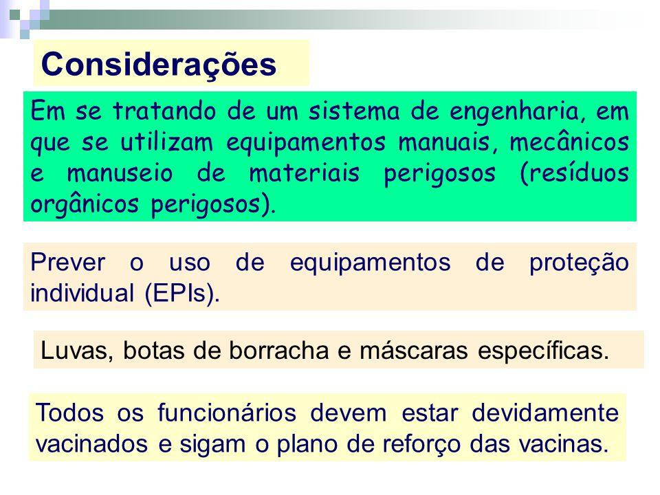 Em se tratando de um sistema de engenharia, em que se utilizam equipamentos manuais, mecânicos e manuseio de materiais perigosos (resíduos orgânicos p