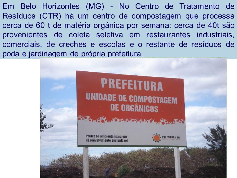 Em Belo Horizontes (MG) - No Centro de Tratamento de Resíduos (CTR) há um centro de compostagem que processa cerca de 60 t de matéria orgânica por sem