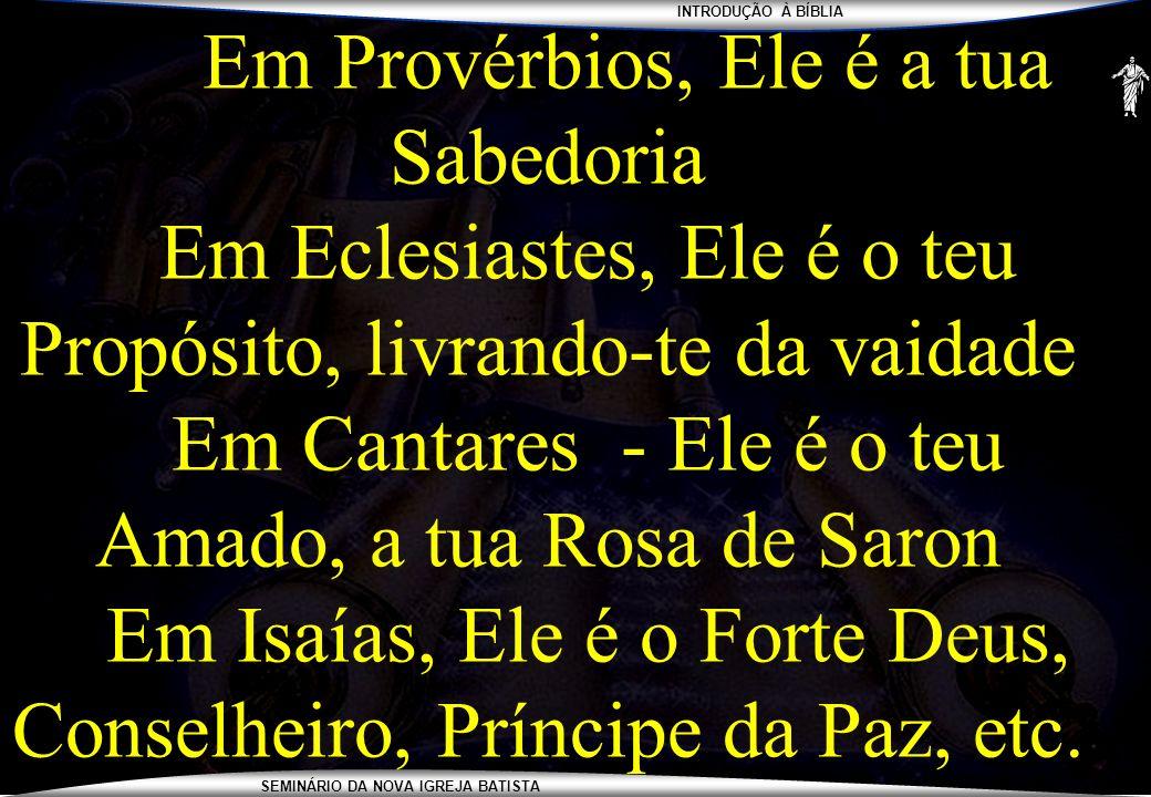 INTRODUÇÃO À BÍBLIA SEMINÁRIO DA NOVA IGREJA BATISTA Em Provérbios, Ele é a tua Sabedoria Em Eclesiastes, Ele é o teu Propósito, livrando-te da vaidad