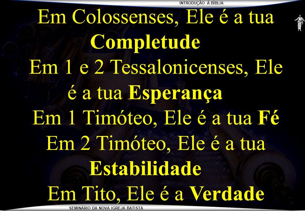INTRODUÇÃO À BÍBLIA SEMINÁRIO DA NOVA IGREJA BATISTA Em Colossenses, Ele é a tua Completude Em 1 e 2 Tessalonicenses, Ele é a tua Esperança Em 1 Timót