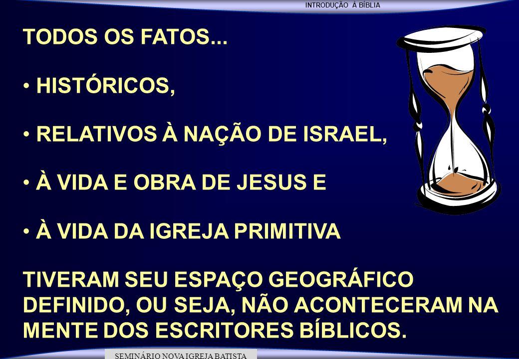 INTRODUÇÃO À BÍBLIA SEMINÁRIO DA NOVA IGREJA BATISTA SEMINÁRIO NOVA IGREJA BATISTA TODOS OS FATOS... HISTÓRICOS, RELATIVOS À NAÇÃO DE ISRAEL, À VIDA E