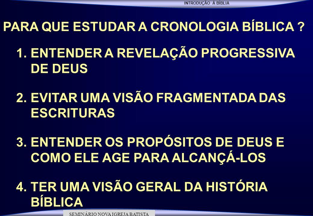 INTRODUÇÃO À BÍBLIA SEMINÁRIO DA NOVA IGREJA BATISTA SEMINÁRIO NOVA IGREJA BATISTA PARA QUE ESTUDAR A CRONOLOGIA BÍBLICA ? 1.ENTENDER A REVELAÇÃO PROG