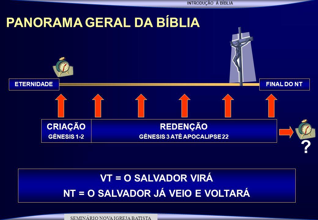 INTRODUÇÃO À BÍBLIA SEMINÁRIO DA NOVA IGREJA BATISTA SEMINÁRIO NOVA IGREJA BATISTA PANORAMA GERAL DA BÍBLIA FINAL DO NTETERNIDADE CRIAÇÃO GÊNESIS 1-2