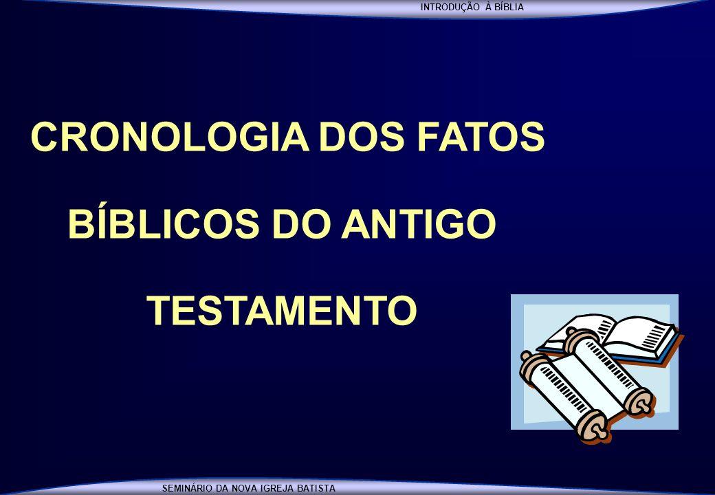 INTRODUÇÃO À BÍBLIA SEMINÁRIO DA NOVA IGREJA BATISTA SEMINÁRIO NOVA IGREJA BATISTA INTRODUÇÃO À BÍBLIA SEMINÁRIO DA NOVA IGREJA BATISTA CRONOLOGIA DOS