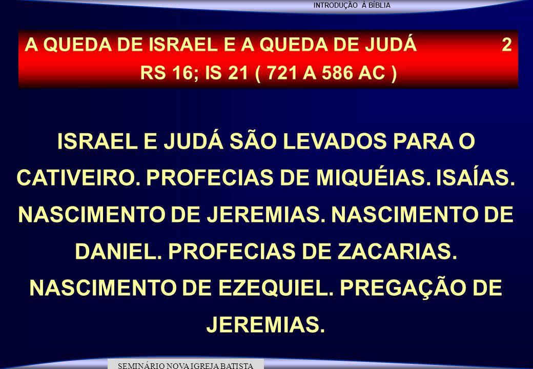 INTRODUÇÃO À BÍBLIA SEMINÁRIO DA NOVA IGREJA BATISTA SEMINÁRIO NOVA IGREJA BATISTA ISRAEL E JUDÁ SÃO LEVADOS PARA O CATIVEIRO. PROFECIAS DE MIQUÉIAS.
