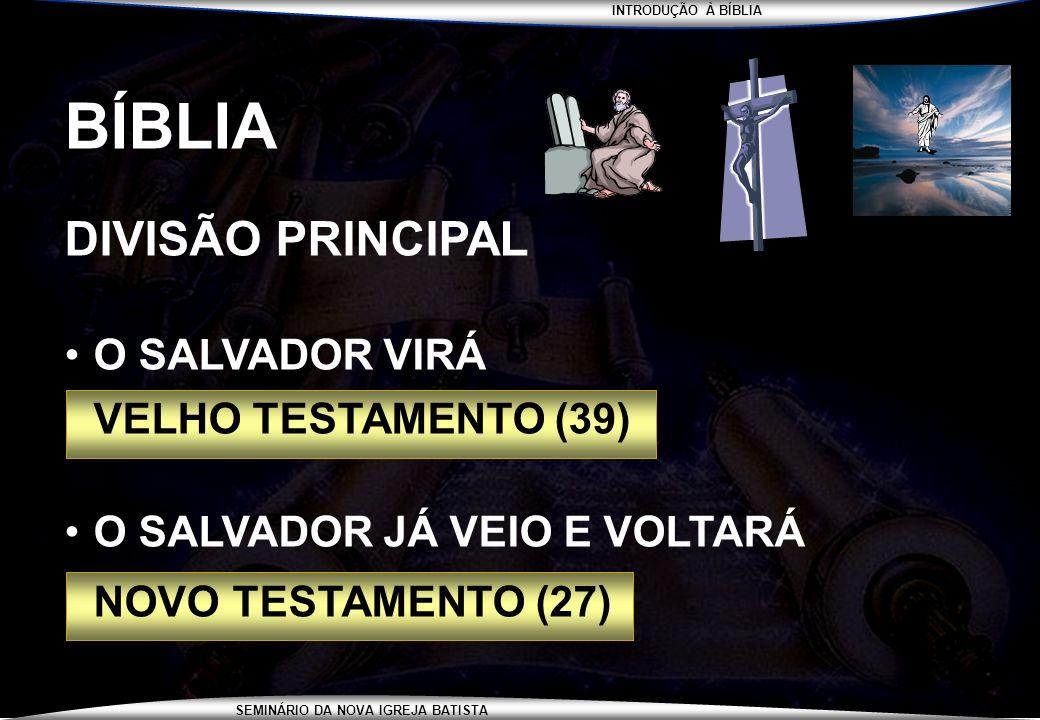 INTRODUÇÃO À BÍBLIA SEMINÁRIO DA NOVA IGREJA BATISTA BÍBLIA DIVISÃO PRINCIPAL O SALVADOR VIRÁ VELHO TESTAMENTO (39) O SALVADOR JÁ VEIO E VOLTARÁ NOVO