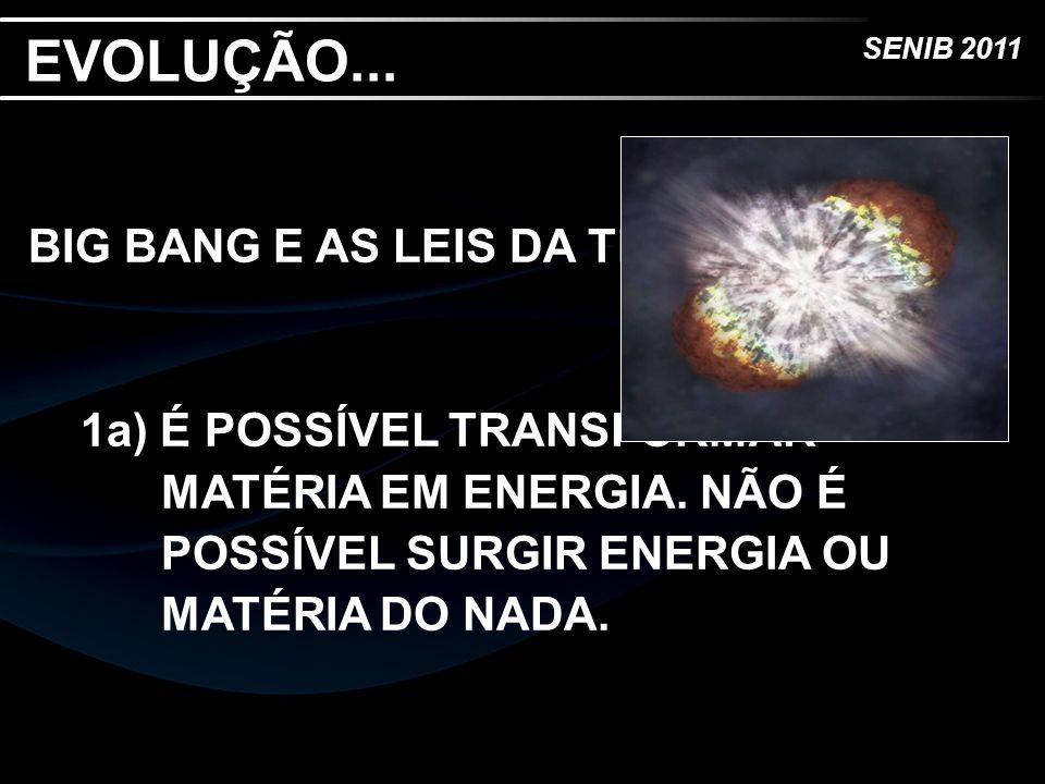 SENIB 2011 EVOLUÇÃO... BIG BANG E AS LEIS DA TERMODINÂMICA 1a) É POSSÍVEL TRANSFORMAR MATÉRIA EM ENERGIA. NÃO É POSSÍVEL SURGIR ENERGIA OU MATÉRIA DO