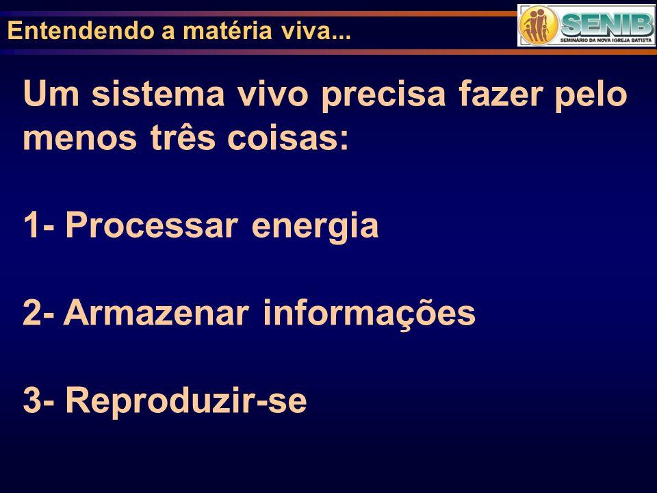 Entendendo a matéria viva... Um sistema vivo precisa fazer pelo menos três coisas: 1- Processar energia 2- Armazenar informações 3- Reproduzir-se