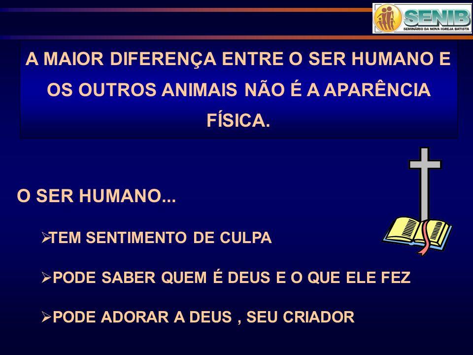 A MAIOR DIFERENÇA ENTRE O SER HUMANO E OS OUTROS ANIMAIS NÃO É A APARÊNCIA FÍSICA. O SER HUMANO... TEM SENTIMENTO DE CULPA PODE SABER QUEM É DEUS E O