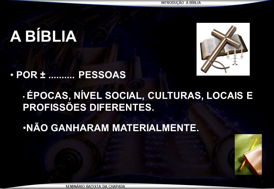 INTRODUÇÃO À BÍBLIA SEMINÁRIO BATISTA DA CHAPADA CRONOLOGIA DOS FATOS BÍBLICOS DO NOVO TESTAMENTO