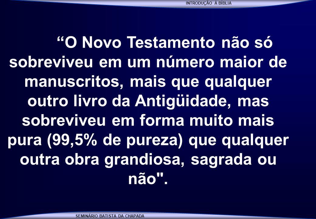 INTRODUÇÃO À BÍBLIA SEMINÁRIO BATISTA DA CHAPADA INTRODUÇÃO À BÍBLIA O Novo Testamento não só sobreviveu em um número maior de manuscritos, mais que q