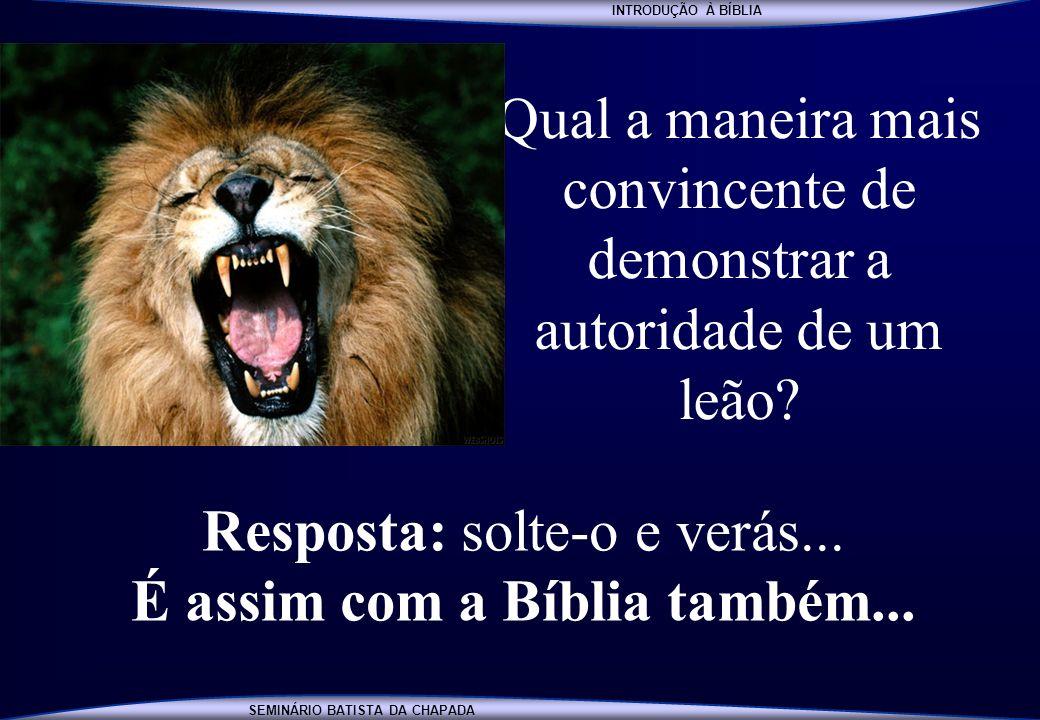 INTRODUÇÃO À BÍBLIA SEMINÁRIO BATISTA DA CHAPADA INTRODUÇÃO À BÍBLIA Qual a maneira mais convincente de demonstrar a autoridade de um leão? Resposta: