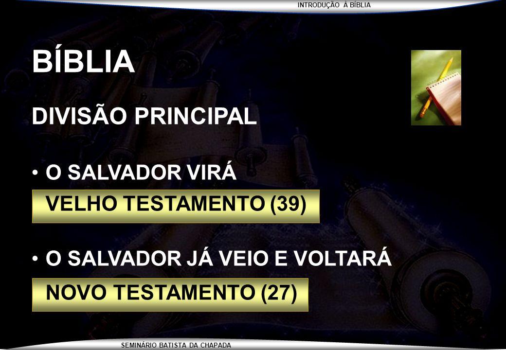 INTRODUÇÃO À BÍBLIA SEMINÁRIO BATISTA DA CHAPADA BÍBLIA DIVISÃO PRINCIPAL O SALVADOR VIRÁ VELHO TESTAMENTO (39) O SALVADOR JÁ VEIO E VOLTARÁ NOVO TEST