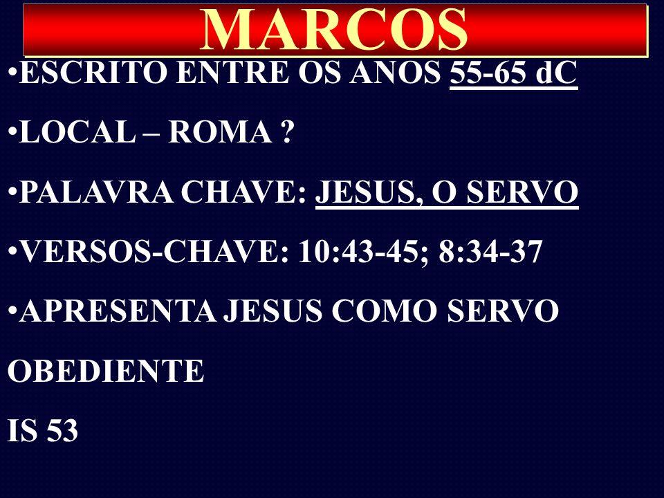 MARCOS ESCRITO ENTRE OS ANOS 55-65 dC LOCAL – ROMA ? PALAVRA CHAVE: JESUS, O SERVO VERSOS-CHAVE: 10:43-45; 8:34-37 APRESENTA JESUS COMO SERVO OBEDIENT