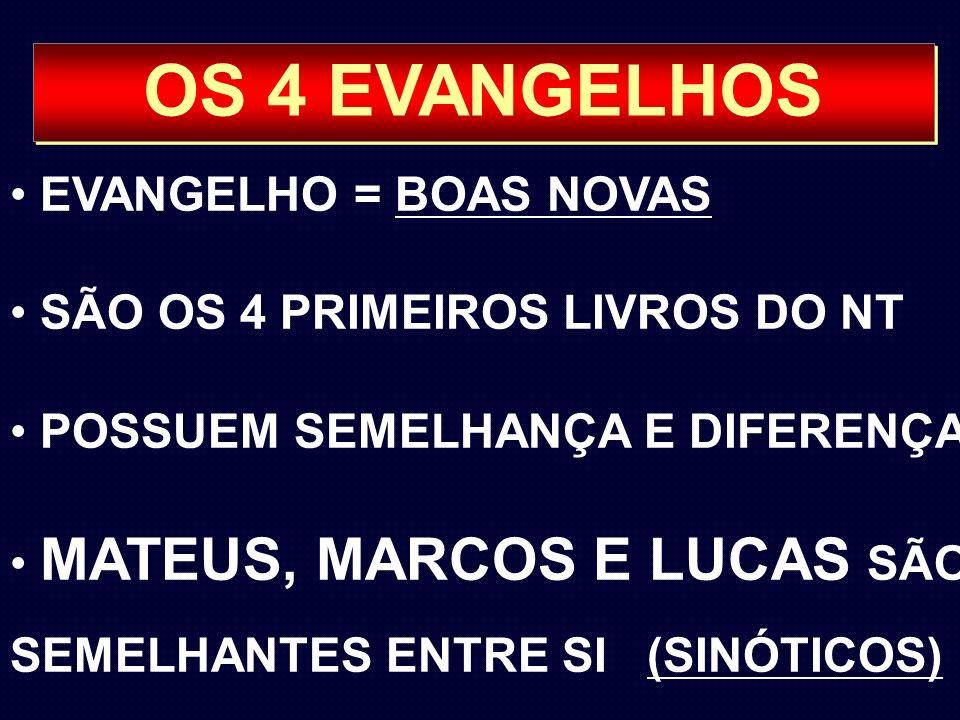OS 4 EVANGELHOS EVANGELHO = BOAS NOVAS SÃO OS 4 PRIMEIROS LIVROS DO NT POSSUEM SEMELHANÇA E DIFERENÇAS MATEUS, MARCOS E LUCAS SÃO SEMELHANTES ENTRE SI