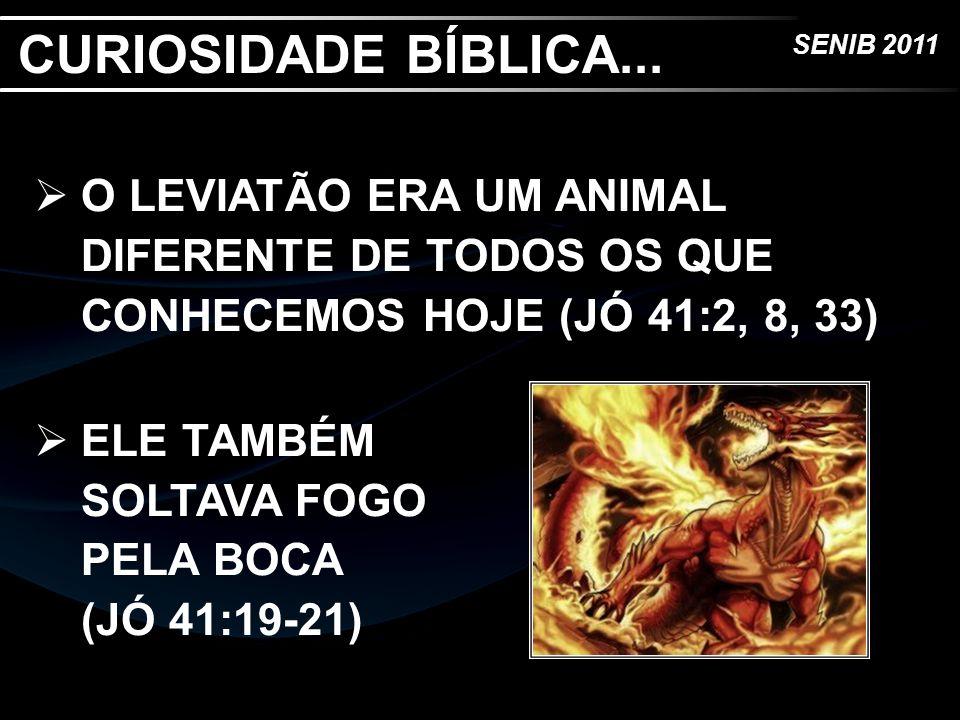 SENIB 2011 O LEVIATÃO ERA UM ANIMAL DIFERENTE DE TODOS OS QUE CONHECEMOS HOJE (JÓ 41:2, 8, 33) ELE TAMBÉM SOLTAVA FOGO PELA BOCA (JÓ 41:19-21) CURIOSI