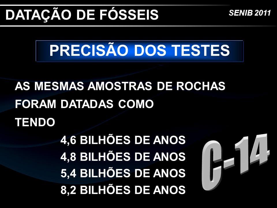 SENIB 2011 PRECISÃO DOS TESTES AS MESMAS AMOSTRAS DE ROCHAS FORAM DATADAS COMO TENDO DATAÇÃO DE FÓSSEIS 4,6 BILHÕES DE ANOS 4,8 BILHÕES DE ANOS 5,4 BI