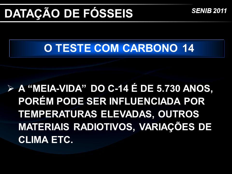 SENIB 2011 O TESTE COM CARBONO 14 A MEIA-VIDA DO C-14 É DE 5.730 ANOS, PORÉM PODE SER INFLUENCIADA POR TEMPERATURAS ELEVADAS, OUTROS MATERIAIS RADIOTI