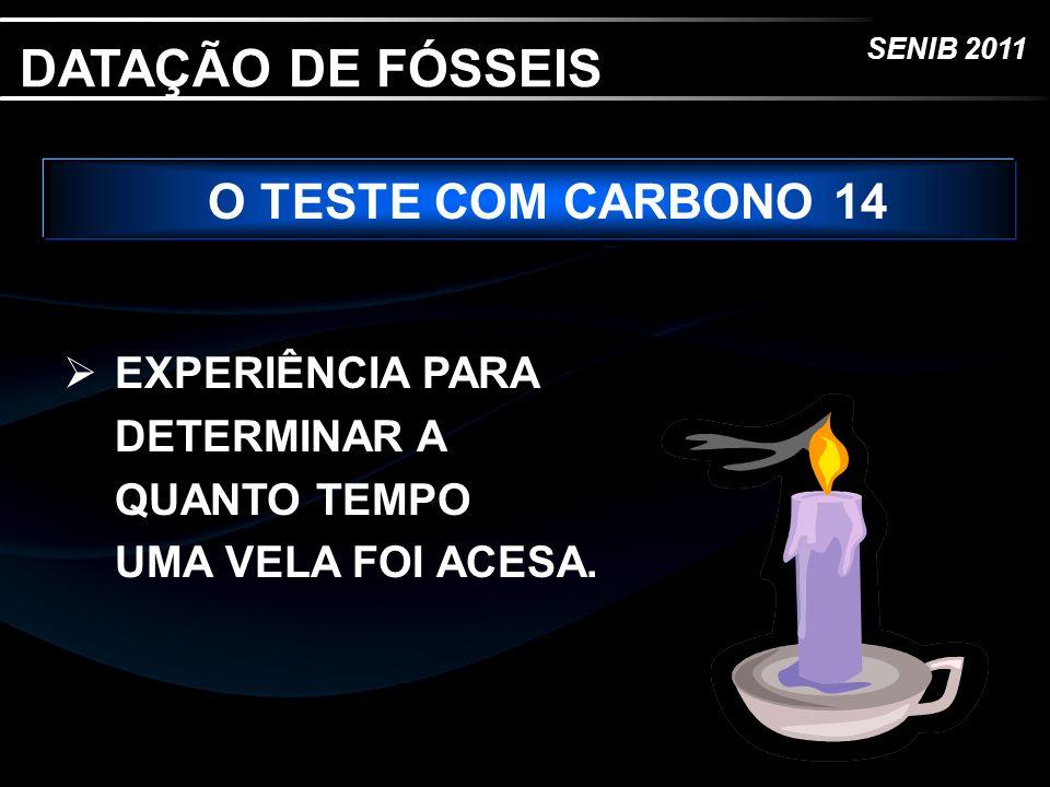 SENIB 2011 O TESTE COM CARBONO 14 EXPERIÊNCIA PARA DETERMINAR A QUANTO TEMPO UMA VELA FOI ACESA. DATAÇÃO DE FÓSSEIS
