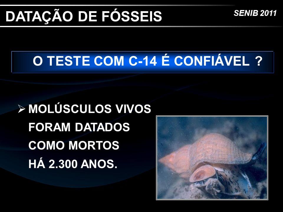 SENIB 2011 O TESTE COM C-14 É CONFIÁVEL ? MOLÚSCULOS VIVOS FORAM DATADOS COMO MORTOS HÁ 2.300 ANOS. DATAÇÃO DE FÓSSEIS