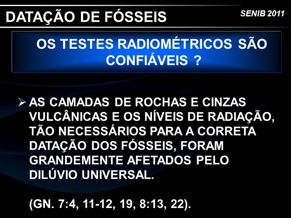 SENIB 2011 OS TESTES RADIOMÉTRICOS SÃO CONFIÁVEIS ? AS CAMADAS DE ROCHAS E CINZAS VULCÂNICAS E OS NÍVEIS DE RADIAÇÃO, TÃO NECESSÁRIOS PARA A CORRETA D