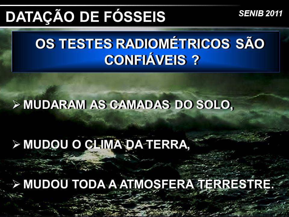 SENIB 2011 OS TESTES RADIOMÉTRICOS SÃO CONFIÁVEIS ? MUDARAM AS CAMADAS DO SOLO, MUDOU O CLIMA DA TERRA, MUDOU TODA A ATMOSFERA TERRESTRE. OS TESTES RA