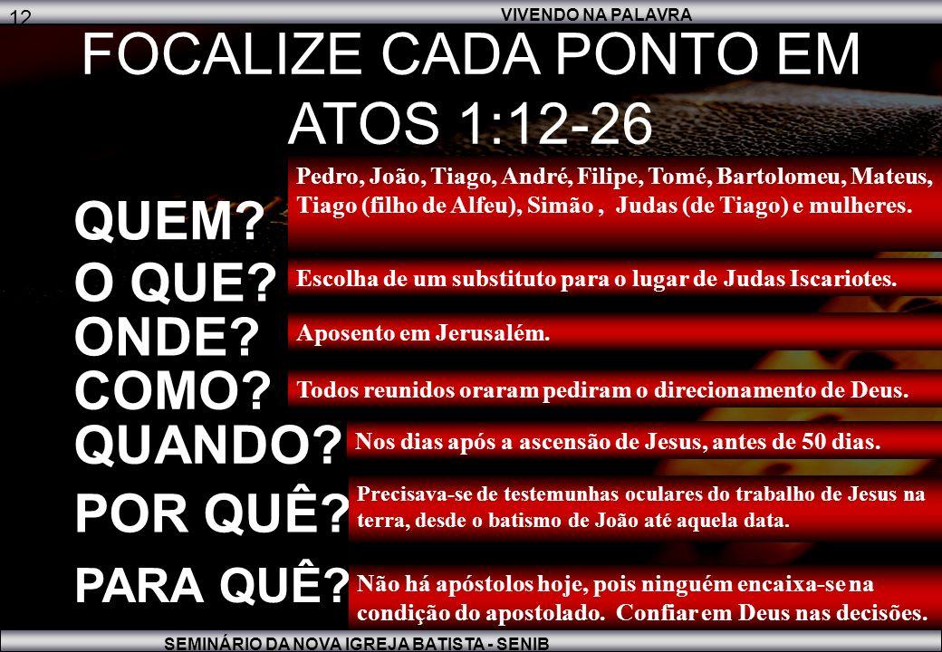 VIVENDO NA PALAVRA SEMINÁRIO DA NOVA IGREJA BATISTA - SENIB 12 FOCALIZE CADA PONTO EM ATOS 1:12-26 QUEM.