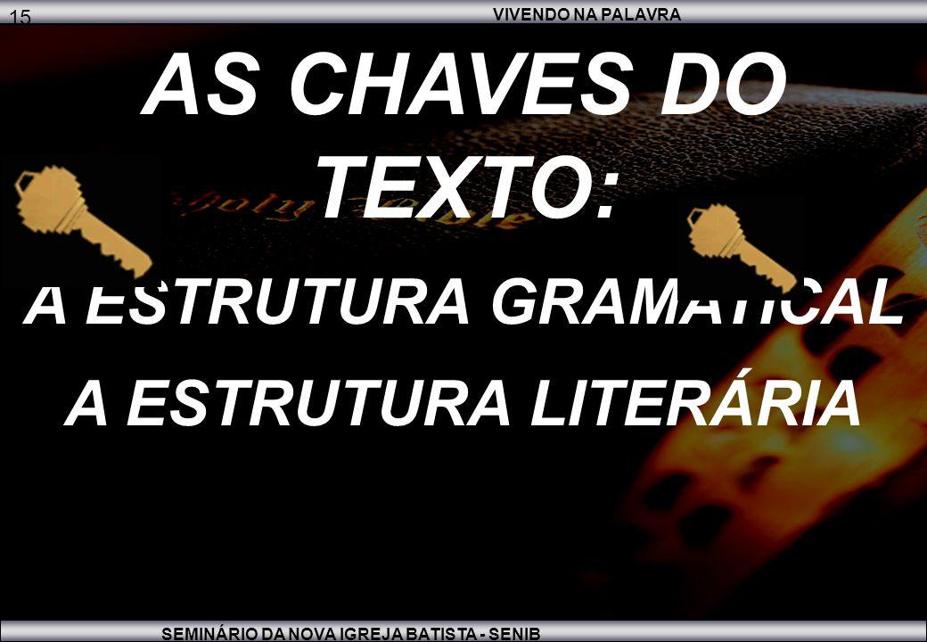 VIVENDO NA PALAVRA SEMINÁRIO DA NOVA IGREJA BATISTA - SENIB 15 AS CHAVES DO TEXTO: A ESTRUTURA GRAMATICAL A ESTRUTURA LITERÁRIA