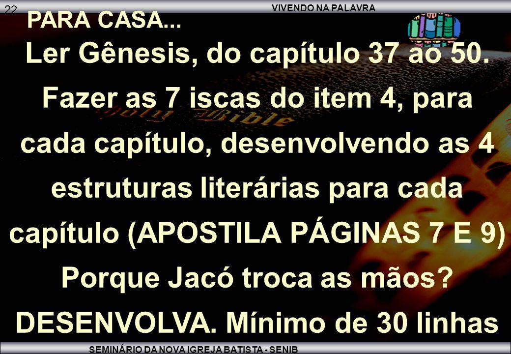 VIVENDO NA PALAVRA SEMINÁRIO DA NOVA IGREJA BATISTA - SENIB 22 PARA CASA...