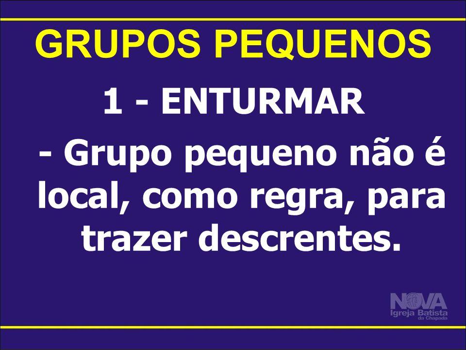 GRUPOS PEQUENOS 1 - ENTURMAR - Grupo pequeno não é local, como regra, para trazer descrentes.