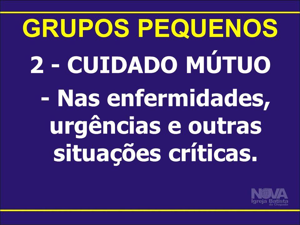 GRUPOS PEQUENOS 2 - CUIDADO MÚTUO - Nas enfermidades, urgências e outras situações críticas.