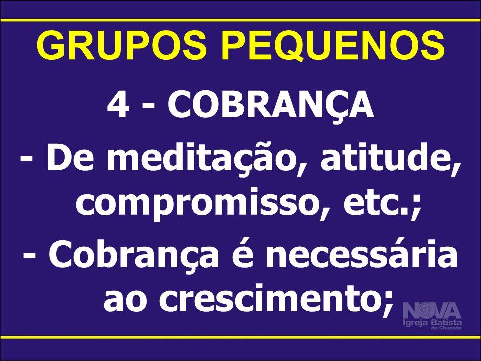 GRUPOS PEQUENOS 4 - COBRANÇA - De meditação, atitude, compromisso, etc.; - Cobrança é necessária ao crescimento;