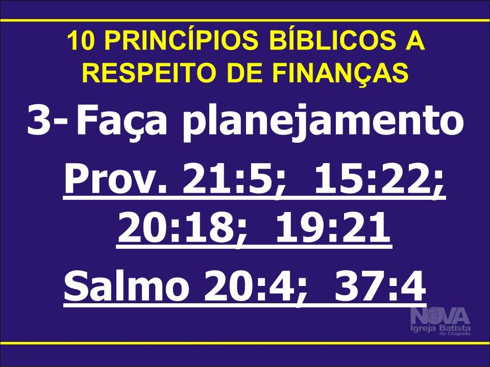 10 PRINCÍPIOS BÍBLICOS A RESPEITO DE FINANÇAS 3-Faça planejamento Prov. 21:5; 15:22; 20:18; 19:21 Salmo 20:4; 37:4