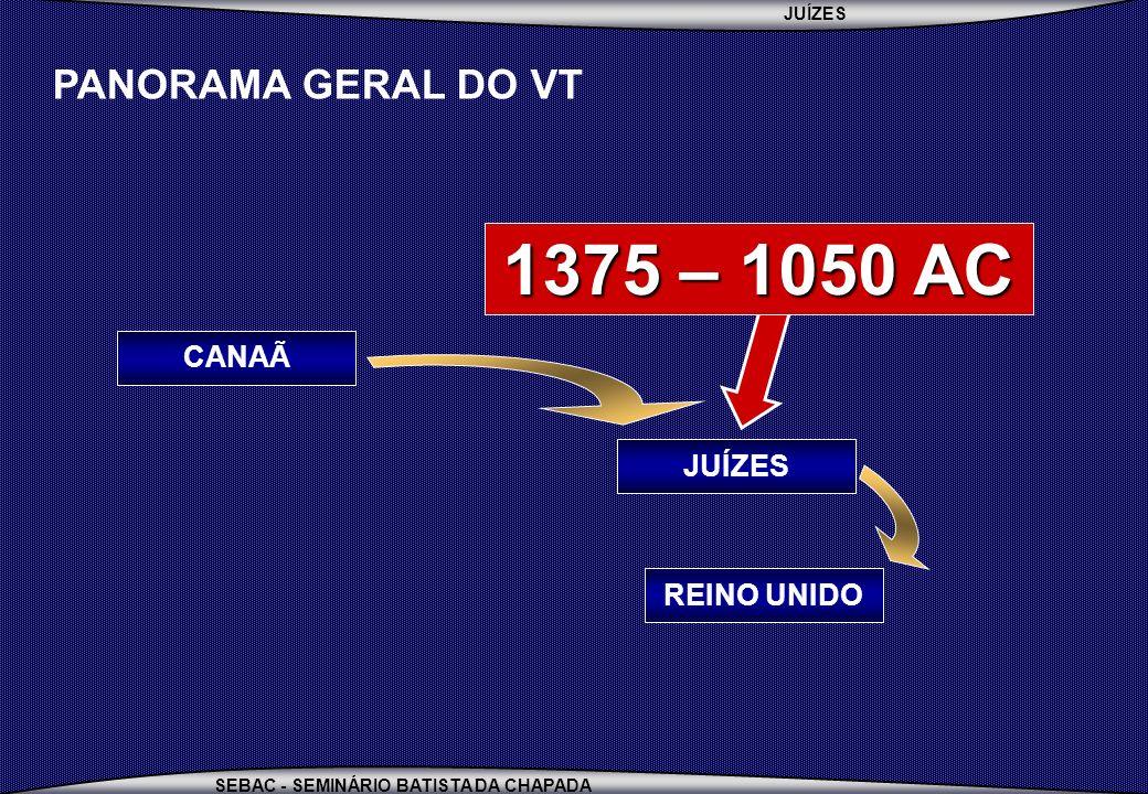 JUÍZES SEBAC - SEMINÁRIO BATISTA DA CHAPADA PANORAMA GERAL DO VT REINO UNIDO JUÍZES CANAÃ 1375 – 1050 AC