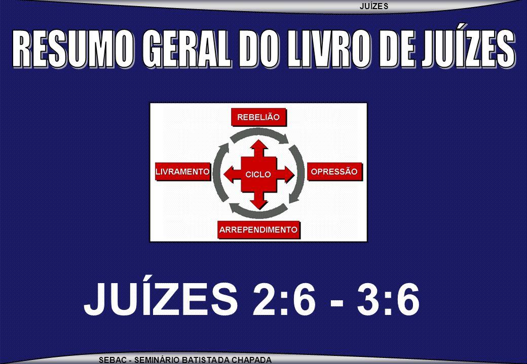 JUÍZES SEBAC - SEMINÁRIO BATISTA DA CHAPADA JUÍZES 2:6 - 3:6